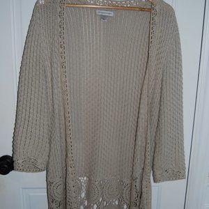 Boho crochet long neutral cardigan/duster